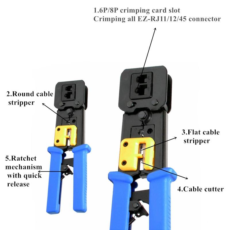 EZ 8P8C connector plier Cable pass through keystone jack crimping tool