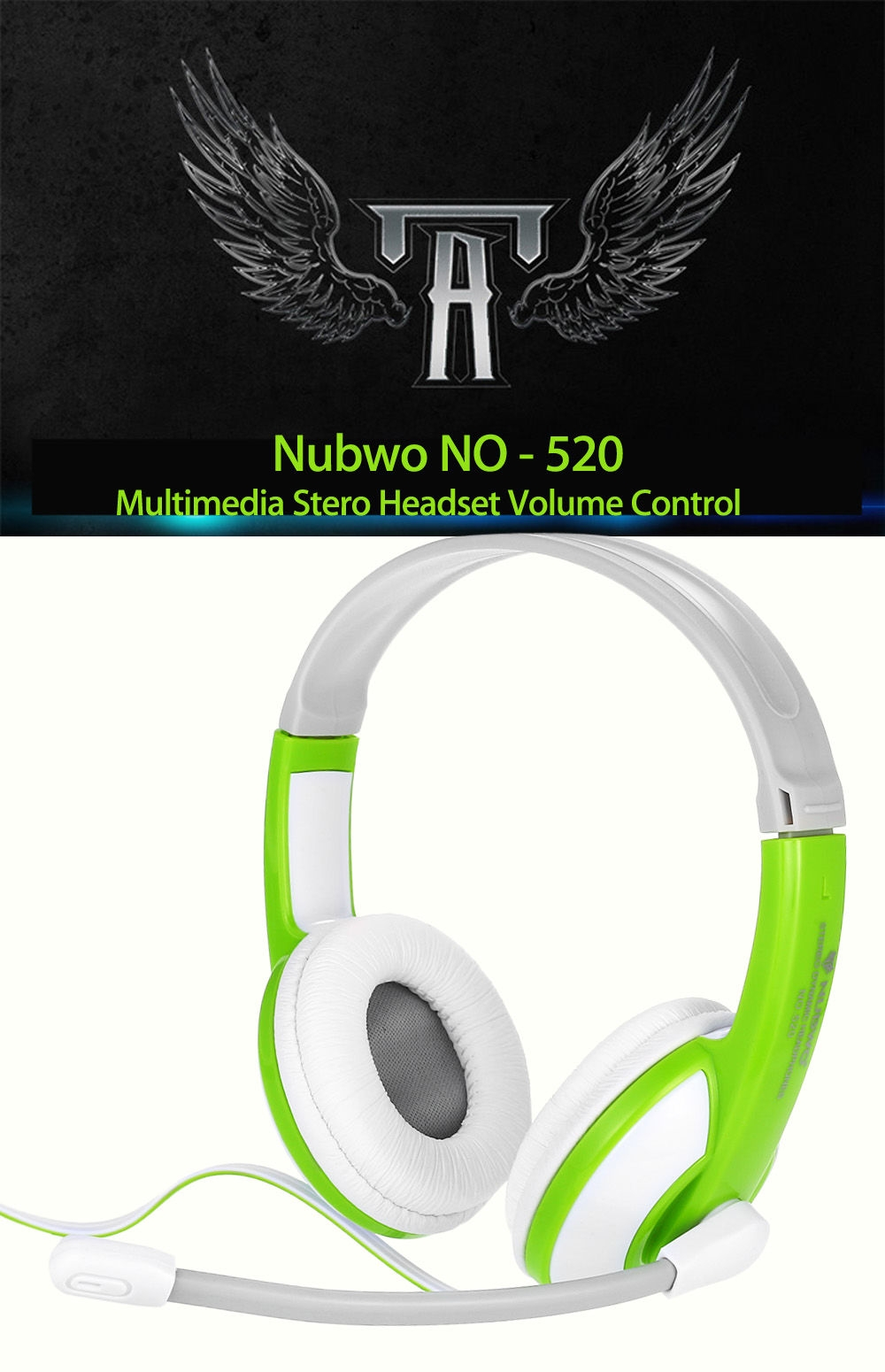 Nubwo NO - 520 Multimedia Stero Headset Wired Headphone with Adjustable Microphone Arm Volume Control