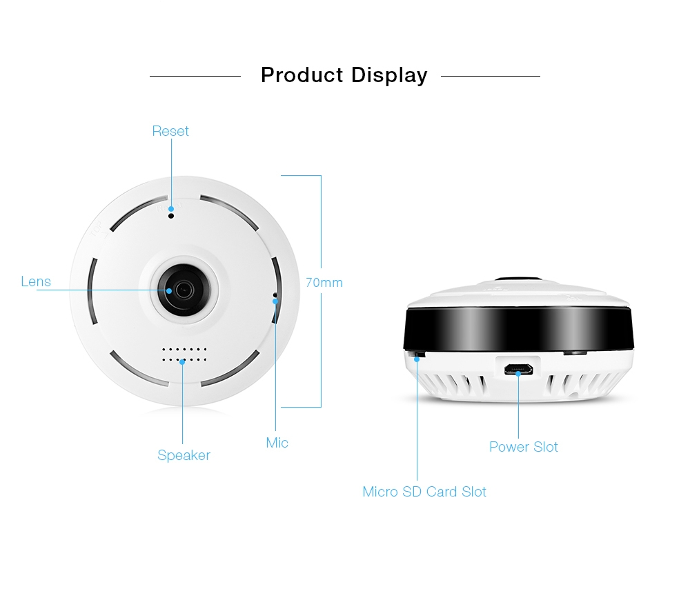 Hiseeu HSY - P6 HD 960P Wireless WiFi IP Indoor Security Camera 360 Degree Fisheye / IR Night Vision / P2P / Motion Detection