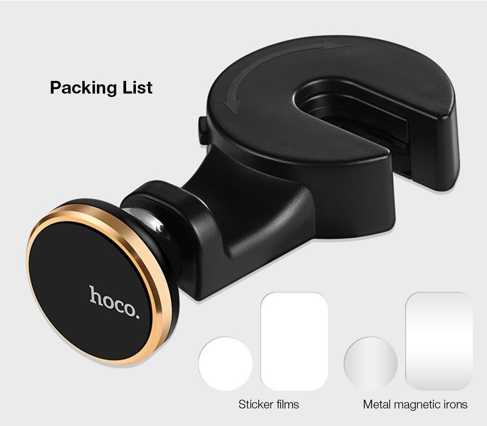 HOCO CA18 Adjustable Car Backseat Headrest Hook Magnetic Mount Holder for Cellphone / Tablet