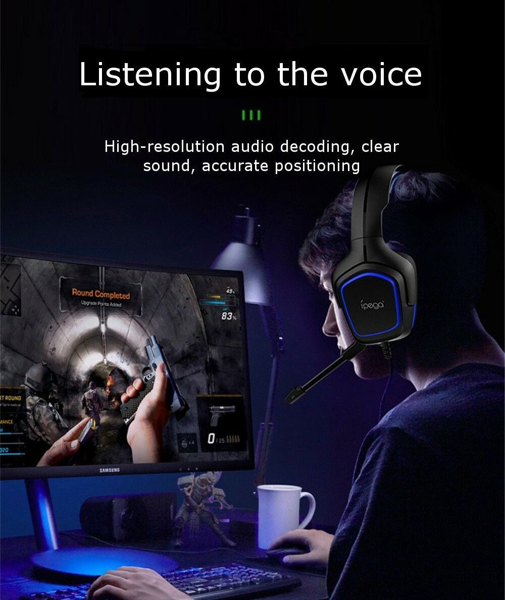 iPEGA PG-R006 Professional Gaming Headphone HiFi Headset - Blue