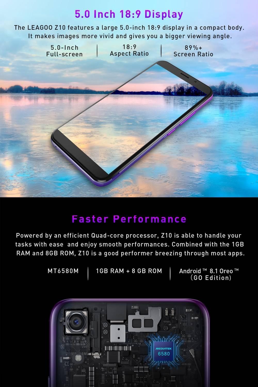 Leagoo Z10, 1GB RAM + 8GB ROM, 5 0 Inch Android 8 1 GO, 3G