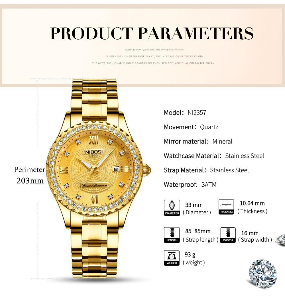 NIBOSI Gold Watch Women 2018 Luxury Brand Women Watches Waterproof Fashion Dress Diamond Quartz Brand Lady Wrist Watches Saat    (3)
