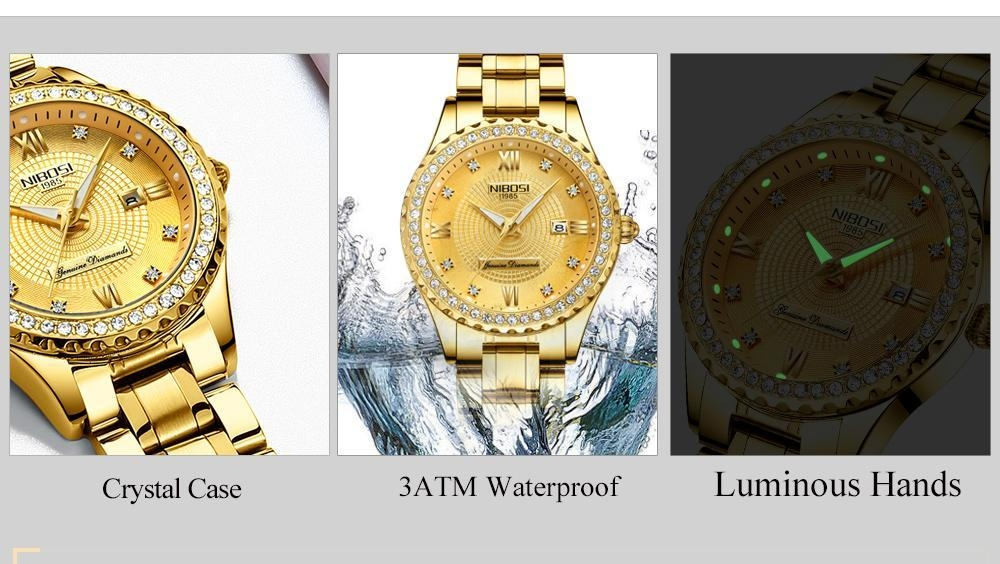 NIBOSI Gold Watch Women 2018 Luxury Brand Women Watches Waterproof Fashion Dress Diamond Quartz Brand Lady Wrist Watches Saat    (4)