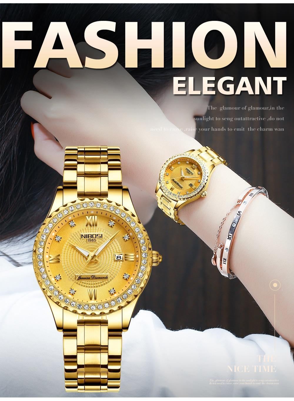 NIBOSI Gold Watch Women 2018 Luxury Brand Women Watches Waterproof Fashion Dress Diamond Quartz Brand Lady Wrist Watches Saat    (9)