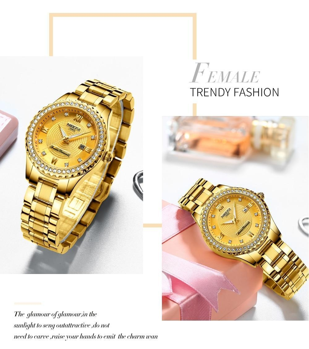 NIBOSI Gold Watch Women 2018 Luxury Brand Women Watches Waterproof Fashion Dress Diamond Quartz Brand Lady Wrist Watches Saat    (11)