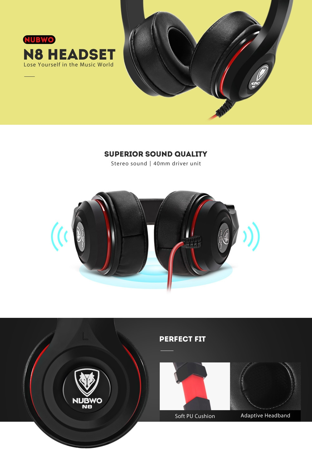 NUBWO N8 3.5mm Stereo Wired Music Stretchable Headphones In-line Control