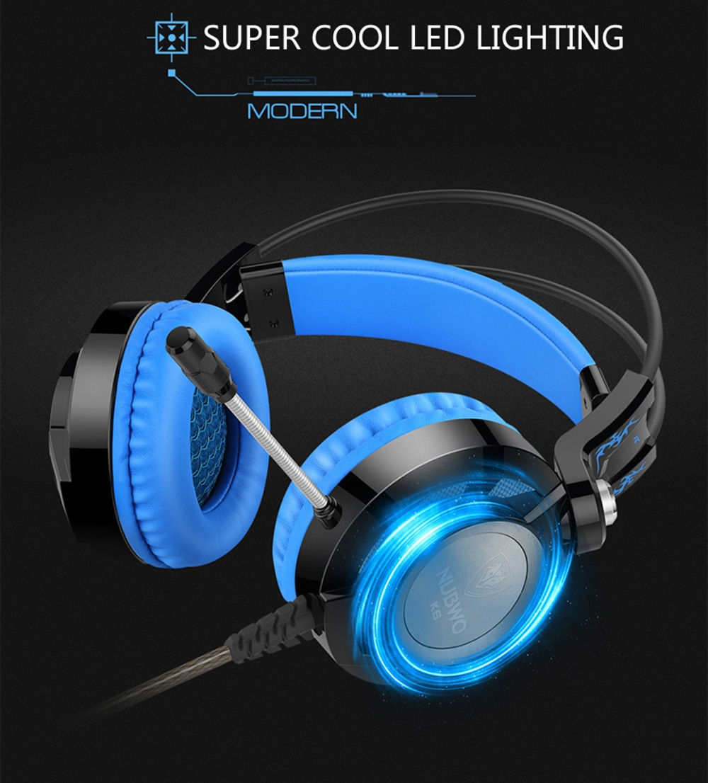 NUBWO K6 Stereo Over Ear Gaming Headset with Microphone LED Lighting for PC