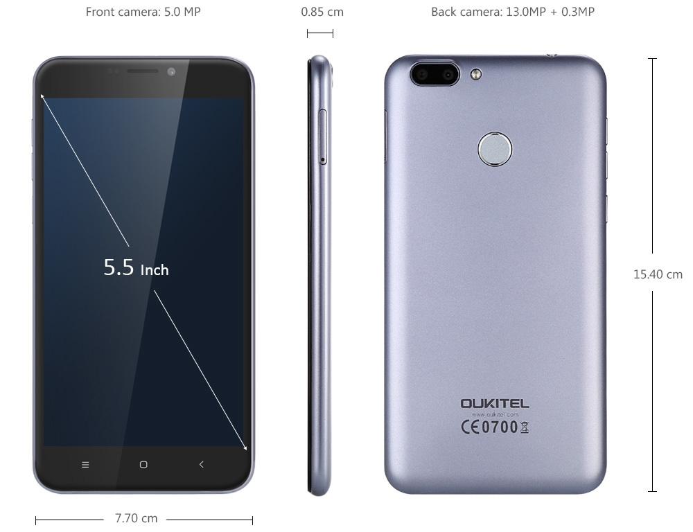 OUKITEL U20 Plus 4G Phablet 5.5 inch IPS Screen Android 6.0 MTK6737T Quad Core 1.5GHz 2GB RAM 16GB ROM 5MP + 13MP Cameras Fingerprint Sensor