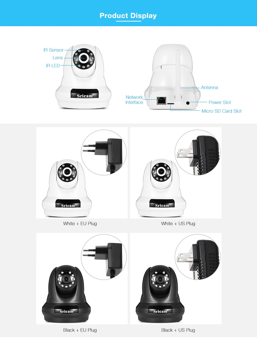 Sricam SP018 HD 1080P Wireless WiFi IP Indoor Security Camera Night Vision / P2P / Motion Detection / Pan and Tilt