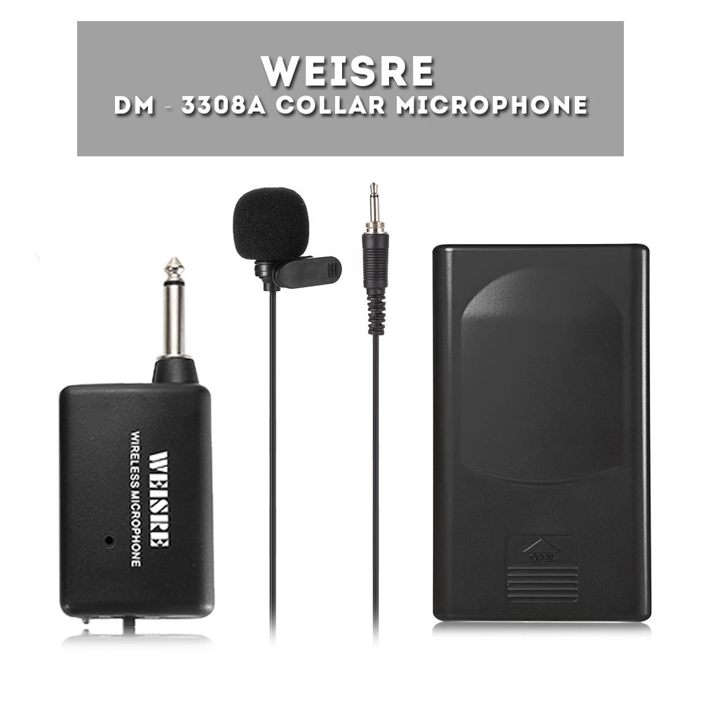 WEISRE DM - 3308A Collar Microphone with Belt Pack Wireless Transmitter Clip-on Mic