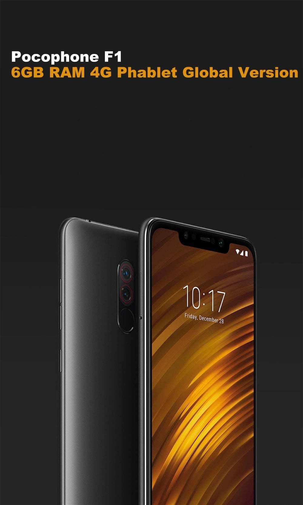 Xiaomi Pocophone F1 4G phablet 6,18 pouces Android 8.1 Snapdragon 845 Octa base 2.8GHz 6GB RAM 128Go ROM 20.0MP Caméra avant d'empreintes digitales noir graphite 6 Sensor + 128Go