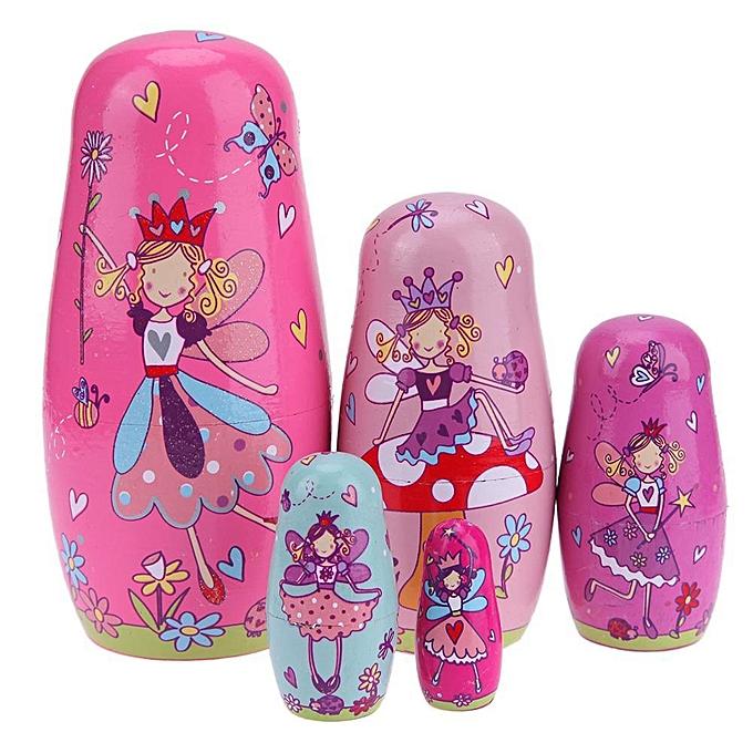 Autre Joyfeel 5pcs   Set Bassbois poupées de matryoshka russes ange rose cadeau de poupées gigognes à prix pas cher