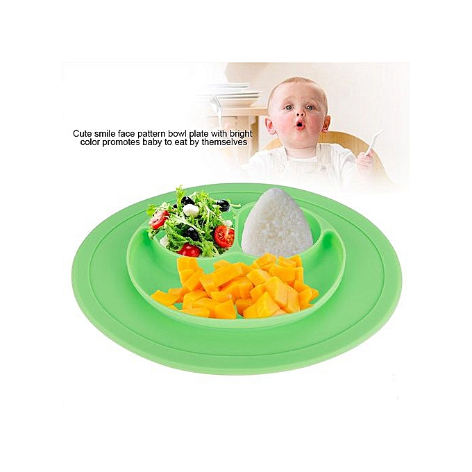 Other Non-SEnfant Silicone   Bowl Plate Toddler Enfants Eating Feeding Tableware Dinnerware (vert) à prix pas cher