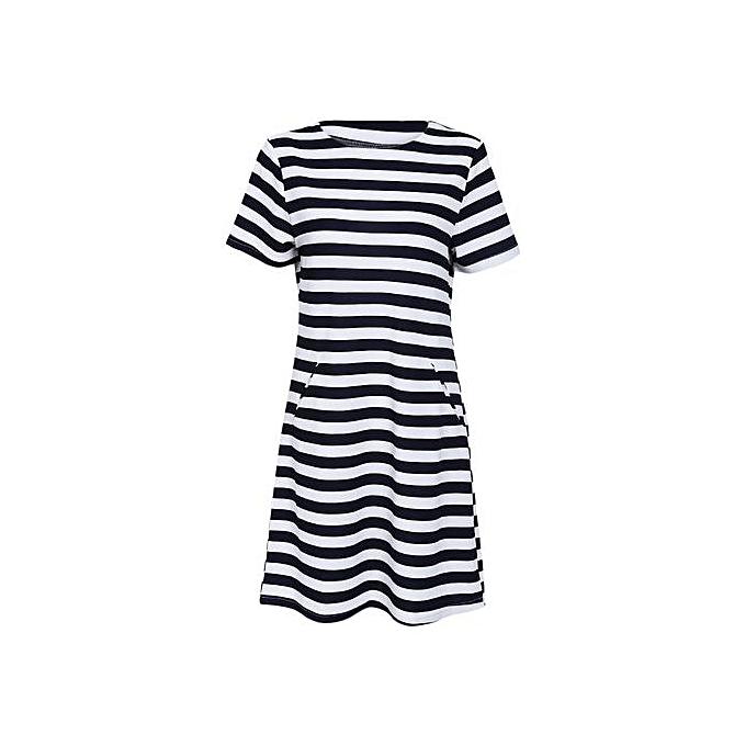 Generic Casual Round Collar Short Sleeve Stripe Pocket femmes Dress à prix pas cher