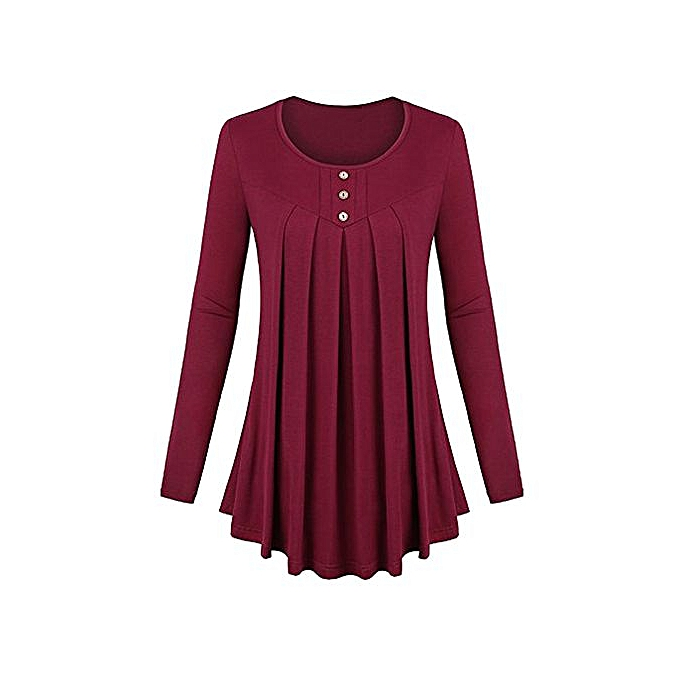 Fashion femmes Basic Solid Row Pleats Long Sleeve Single-Breasted Top T-Shirt Blouse à prix pas cher