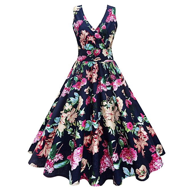 Generic Xiuxingzi femmes Plus Taille Floral Print Vintage Gown Sleeveless Party Prom Swing Dress à prix pas cher