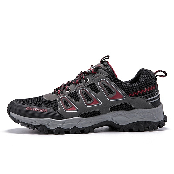 Other New Stylish Men's Breathable Mesh Mountaineering chaussures Outdoor Anti-skid Sports chaussures-noir rouge à prix pas cher