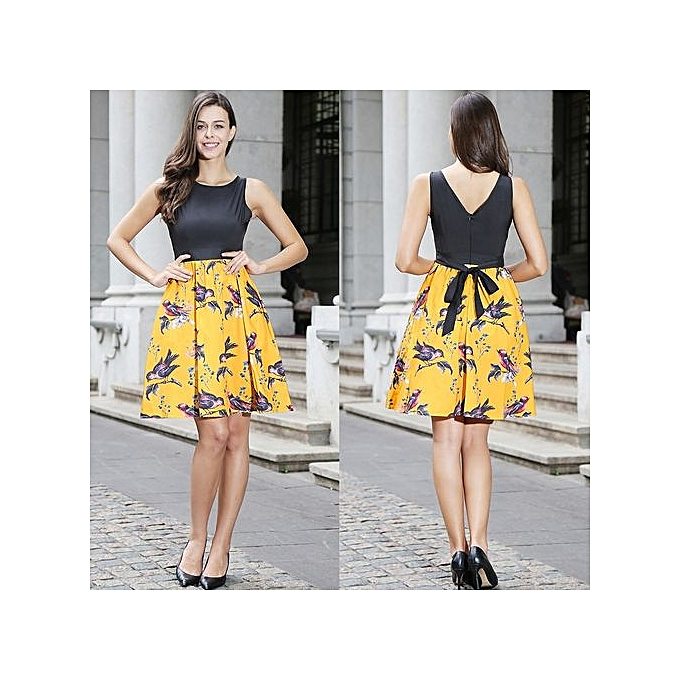 Fashion femmes Vintage Jacquard Vest Dress Lady Elegant Temperament Slim Sleeveless Print Dress Office Lady Party Short Dress-jaune à prix pas cher