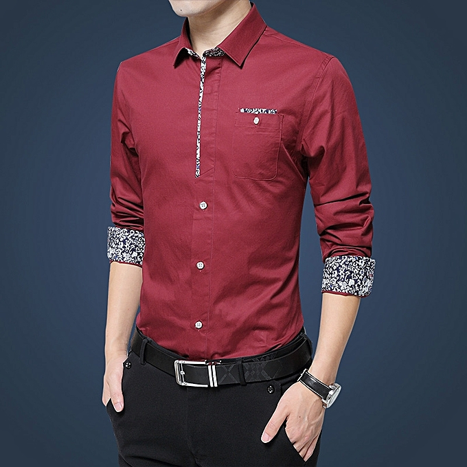 Tauntte manche longue Slim Fit Formal Shirst For Hommes Affaires Office Shirts (rouge) à prix pas cher