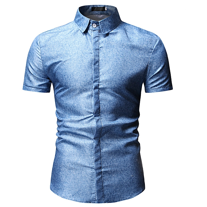 Fashion jiahsyc store  Men's Summer Fashion Casual Comfort  Solid Couleur Lapel Short Sleeve Top Blouse à prix pas cher