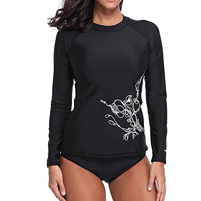Fashion (Xiuxingzi) femmes Floral Long Sleeve Rashguard Swimwear Beach Surfing Athletic Tops à prix pas cher