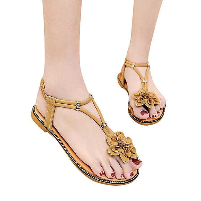 Fashion Xiuxingzi Fashion femmes Flower Flat Heel Anti Skidding Beach chaussures Sandals Slipper à prix pas cher
