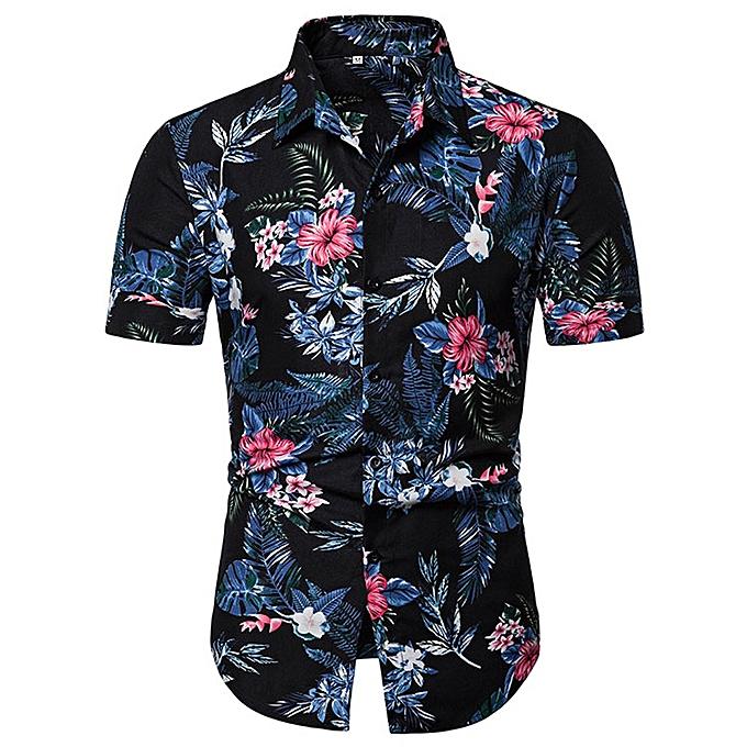 Fashion jiahsyc store Men's  Button-Down Collar Printed Casual Short Sleeve Slim Fit  Shirt Top Blouse à prix pas cher
