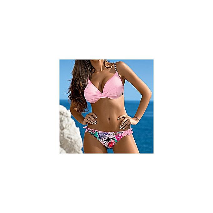 Autre y vintage brand sale solid print floral halter 2XL push up girl femmes bikini set patchwork wire free femmes swimwear swimsuit(9) à prix pas cher