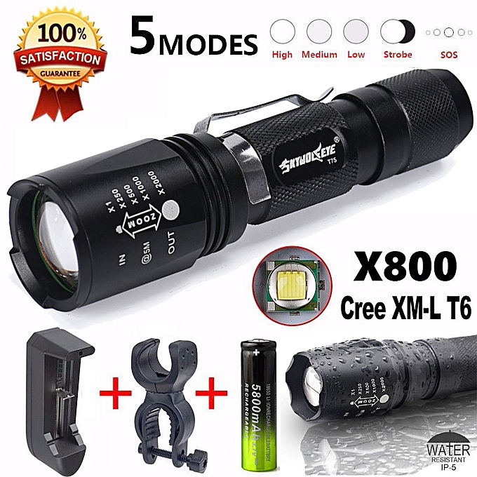 Electronic G700 XM-L T6 LED Zoom Flashlight X800 Lumitact Torch Battery Charger à prix pas cher