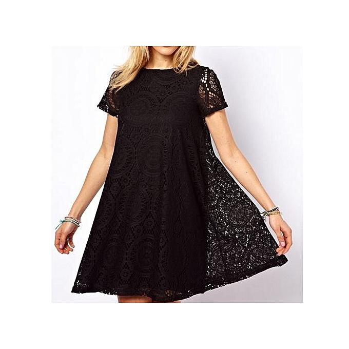 Generic Dresses For Ladies Fashion Summer Female Style A-line Short Sleeve Summer Dress Dress femmes Lace Sexy Dress-noir à prix pas cher