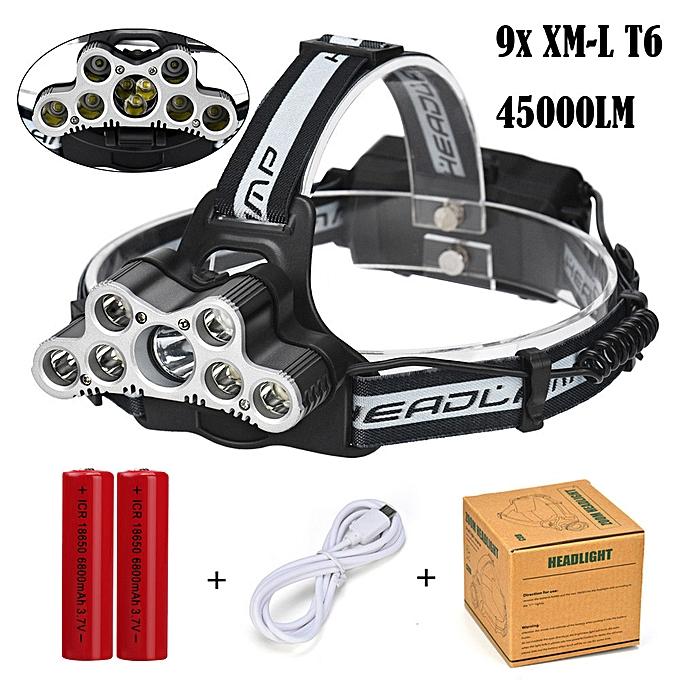 GENERAL quanxinhshang 45000 LM 9X XM-L T6 LED Rechargeable Headlamp Headlight Travel Head Torch à prix pas cher