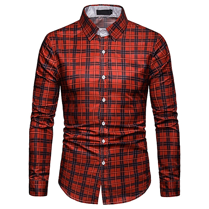 mode Hommes& 039;s Spbague nouveau Affaires spbague and autumn plaid Décontracté long-sleeved shirt C463-multi à prix pas cher