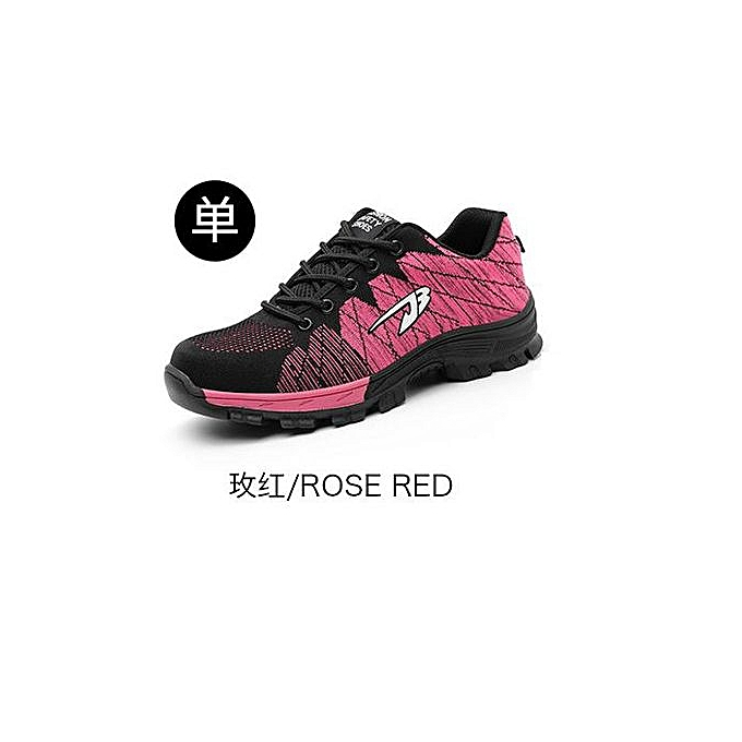 OEM Breathable safety chaussures, flying woven sports, anti-smashing and puncture safety chaussures, labor insurance chaussures-rose rouge à prix pas cher