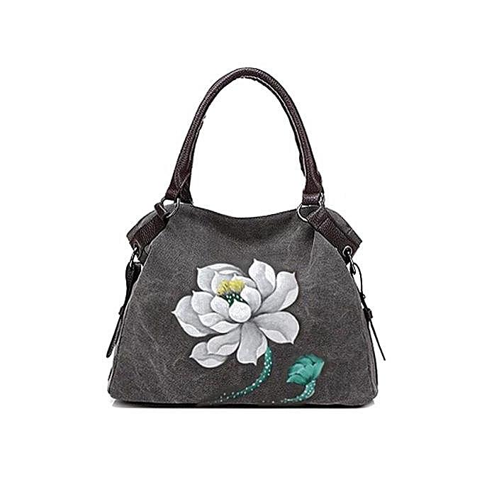 UNIVERSAL Creative hand-painted canvas bag Wohommes Messenger bag shoulder Large-capacity simple hand-painted fashion handbag à prix pas cher