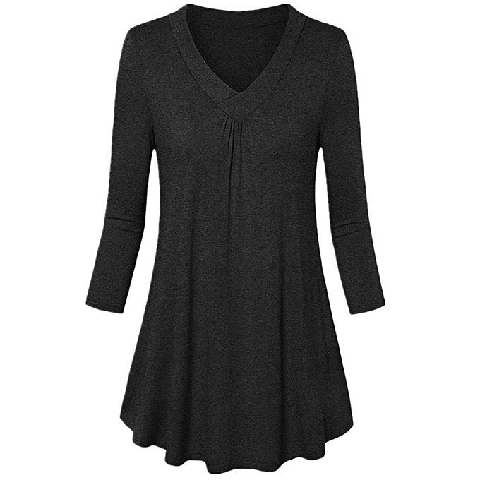 Fashion (Xiuxingzi) femmes Fashion Plus Taille Solid V-Neck Long Sleeve Pleated  T-Shirt Tops Blouse à prix pas cher