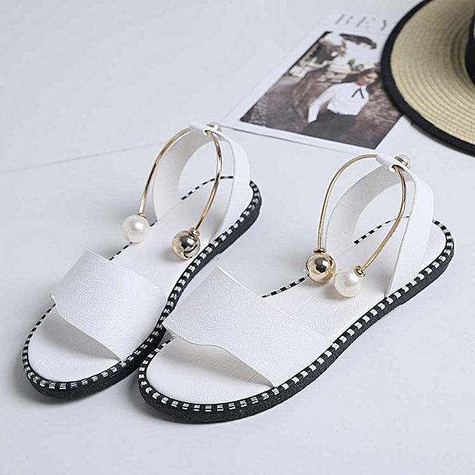 Fashion (Xiuxingzi) femmes Ladies Fashion Solid Round Toe Pearl Buckle Causal Sandals chaussures à prix pas cher
