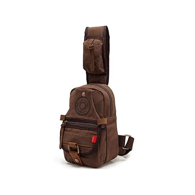 Generic Man Shoulder Bag Canvas Messenger Bags Larger Bag Chest Sling Bag à prix pas cher