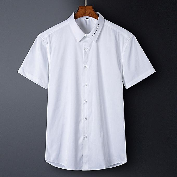 mode Hommes cotton Robe shirt-blanc à prix pas cher