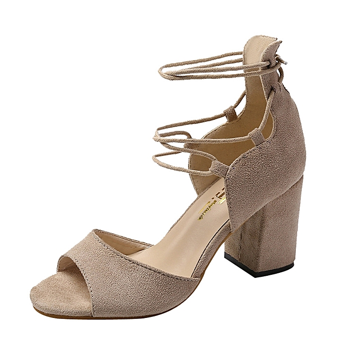 Fashion Blicool chaussures femmes Fish Mouth High Heel Cross Straps Sandals Ankle Feather Party chaussures Khaki à prix pas cher