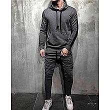 Survêtements Jogger A Capuche Haute Qualité hoodie Sweat Capuchon 2019  Homme ensemble 2 Pièces - Gris 7096dc25dcc