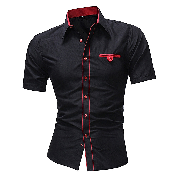 Fashion Men Shirt Fashion Solid Couleur Male Casual Short Sleeve Shirt BK 3XL à prix pas cher