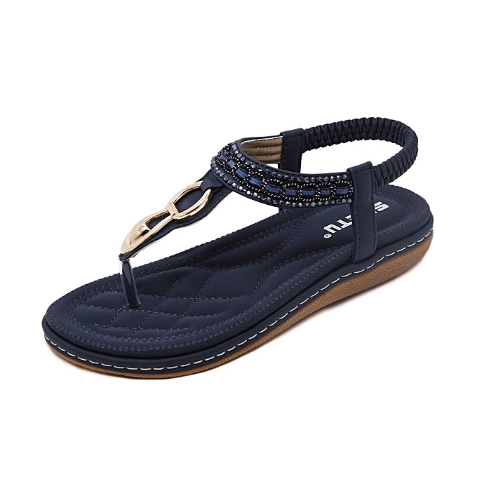 OEM New style Super Large Size WoHommes Leather WoHommes Size  Sandals Bohemian Diamond Slippers Woman Flats Flip Flops Shoes Summer Beach Sandals -Bleu  à prix pas cher  | Black Friday 2018 | Jumia Maroc 013916