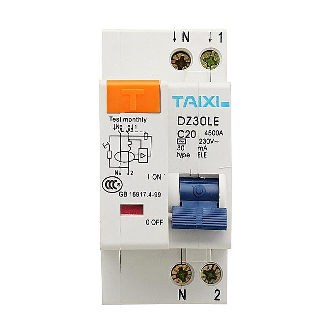 UNIVERSAL TAIXI® DZ30LE-32 10A 16A 20A 32A Circuit Breaker Intelligent Short Current Leakage Prougeection à prix pas cher