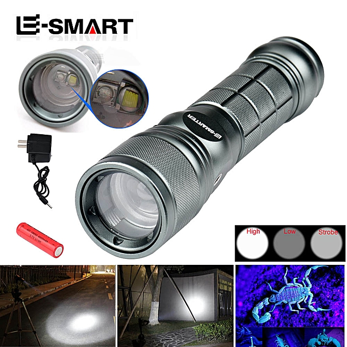 GENERAL quanxinhshang 3Mode Zoom T6 Q5 LED Super Bright Flashlight blanc + violet Torch +18650+Charger à prix pas cher