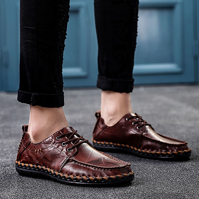 Fashion UK Men Business Oxfords Leather Square Toe chaussures Lace Up Drive Casual chaussures à prix pas cher