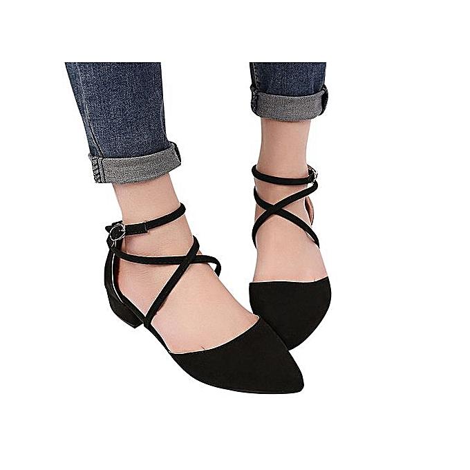 OEM Fashion Casual Point Toe Buckle Strap Square Heel Sandals Med Heel chaussures-noir à prix pas cher    Jumia Maroc
