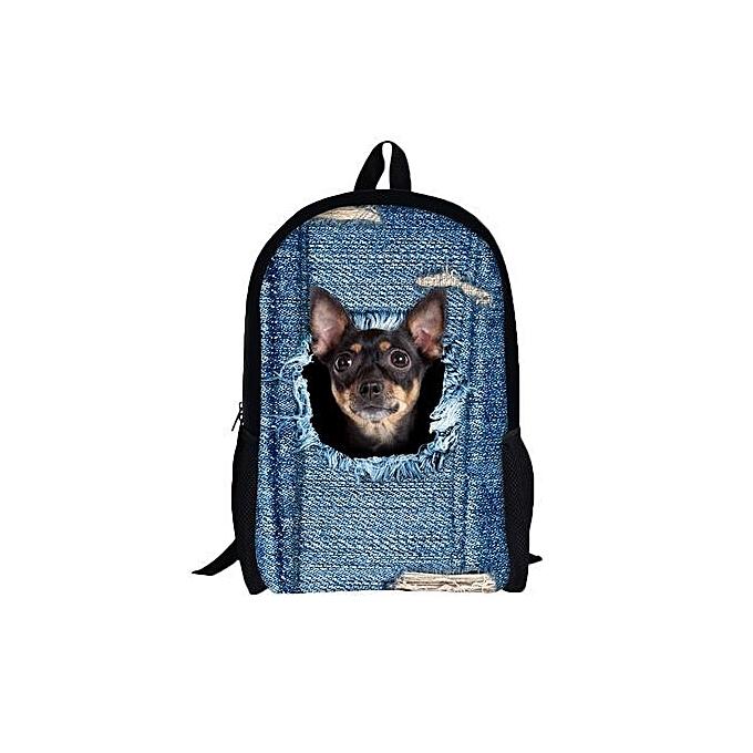 Duoya 3D Animal Print Cat Dog Backpack Student School College Shoulder Bags F-As Shown à prix pas cher