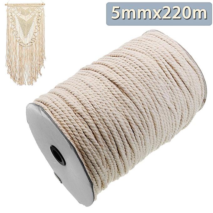 UNIVERSAL 5mmx220m 3 Strand Artisan 100% Macrame Cotton Twisted Cord Rope DIY Craft String à prix pas cher