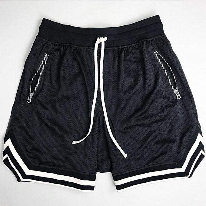 Other New Stylish Men's Fast Dry Thin Mesh Sports Shorts Loose Running Basketball Training Pants-noir à prix pas cher